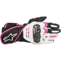 Womens Alpinestars Stella SP1 Black White Pink Leather Motorcycle Street Gloves