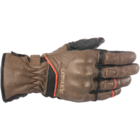 Mens Alpinestars Black Brown Leather Cafe Motorcycle Riding Street Racing Gloves
