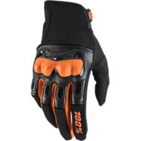 Mens 100 % Black Orange Derestricted Leather Vented Offroad Racing Riding Gloves