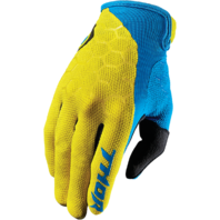 Mens Thor Yellow Blue Draft Textile Off Road Racing Motorcycle Riding Gloves