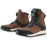 Mens Icon Brown Mid Calf Leather Patrol 2 Motorcycle Riding Street Racing Boots