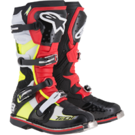 Mens Alpinestars Tech 8 RS Black Red Yellow Leather Motorcycle Off road Boots