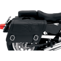 Saddlemen Medium Black Flame Highwayman Tattoo Zip Off Saddlebag Honda Victory