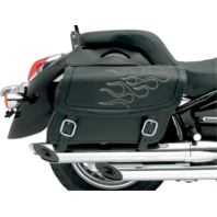 Saddlemen Black Silver Flame Leather Universal Motorcycle Saddlebags Harley FXST