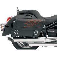 Saddlemen Med Black Orange Flame Leather Universal Motorcycle Saddlebags Harley