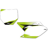 Factory Effex Pair White Vinyl Graphic Number Plate for 06-08 Kawasaki KX250F