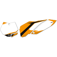 Factory Effex Pair White Vinyl Graphic Number Plate for 07-10 KTM 125SX 250SXF