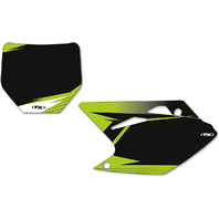 Factory Effex Pair Black Vinyl Graphic Number Plate for 16-18 Kawasaki KX450F