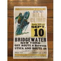 "Vintage Replica Bridgewater NY Hill Climb 22"" x 14"" Chuck Myles Cardstock Poster"