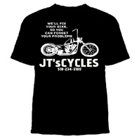 """JT's Cycles """"We'll fix your problems"""" Black Tshirt Bobber Hardtail Harley Biker"""