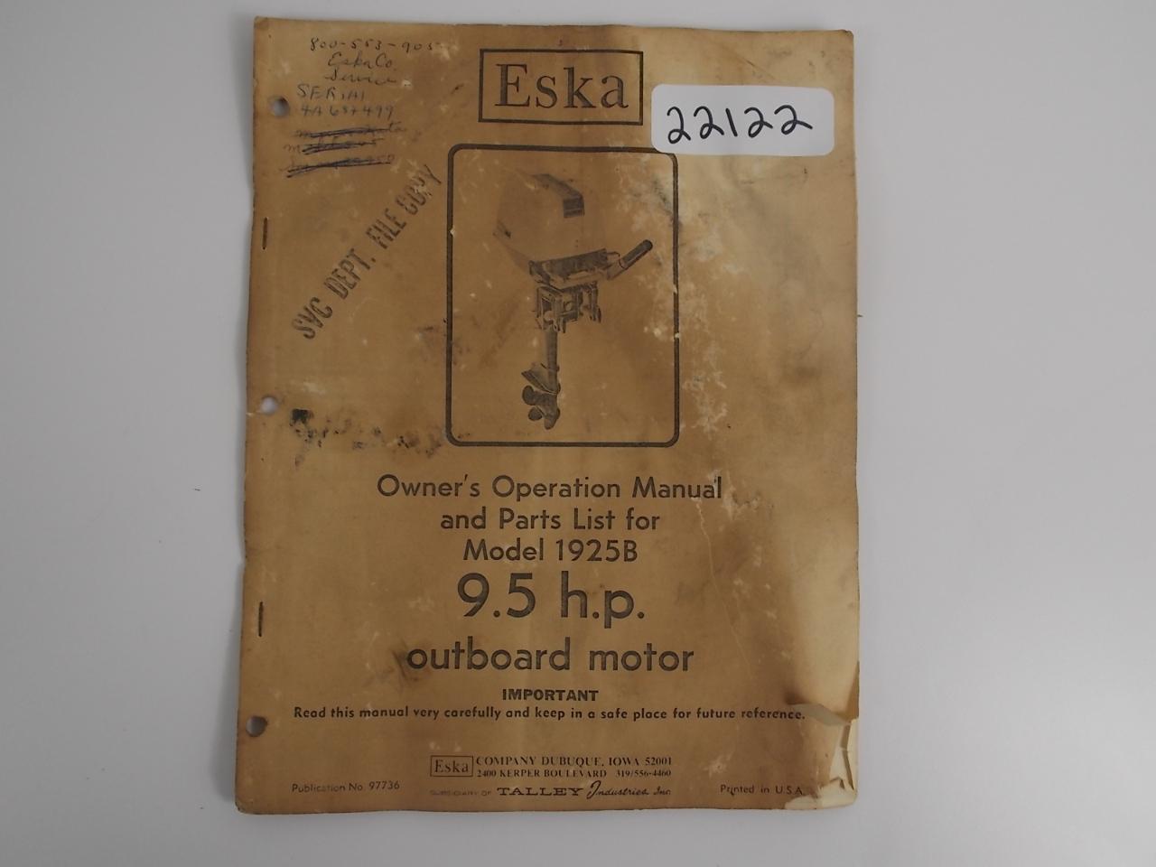 eska owner s operation manual 9 5 hp model 1925b publication 97736 rh southcentraloutboards com Eska Korra Eska Pedal Tractor Parts