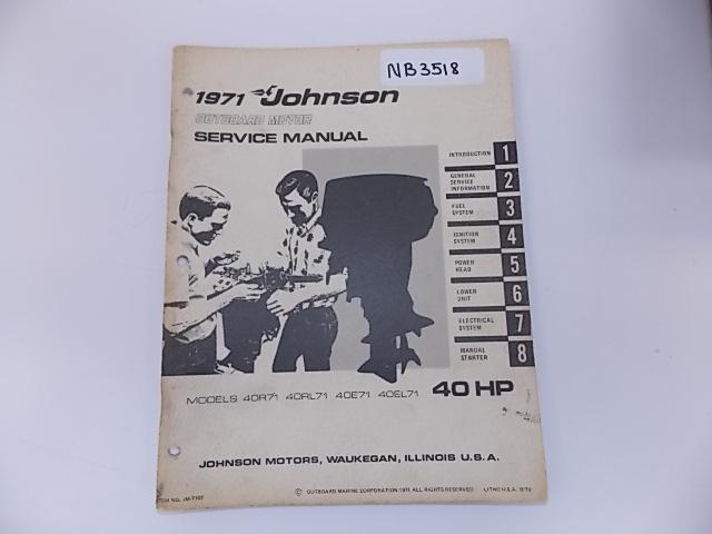1971 Johnson Outboard Motor Service Manual 40 Hp