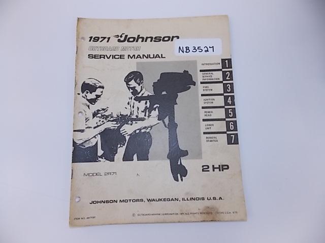 1971 Johnson Outboard Motor Service Manual 2 Hp Model 2r71