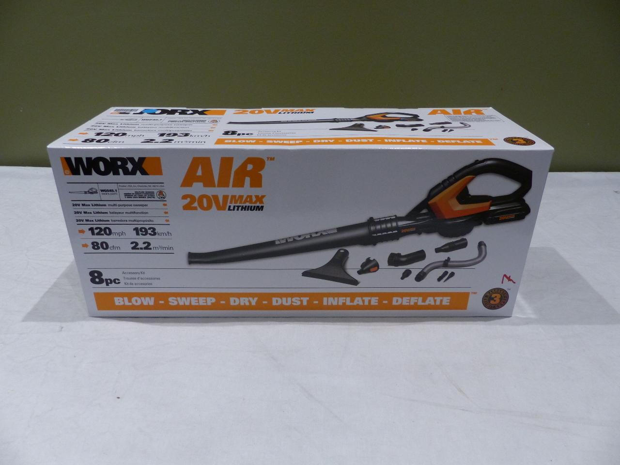worx blower sweeper 20v 2amp lithium battery wg545 1 mdg sales llc. Black Bedroom Furniture Sets. Home Design Ideas