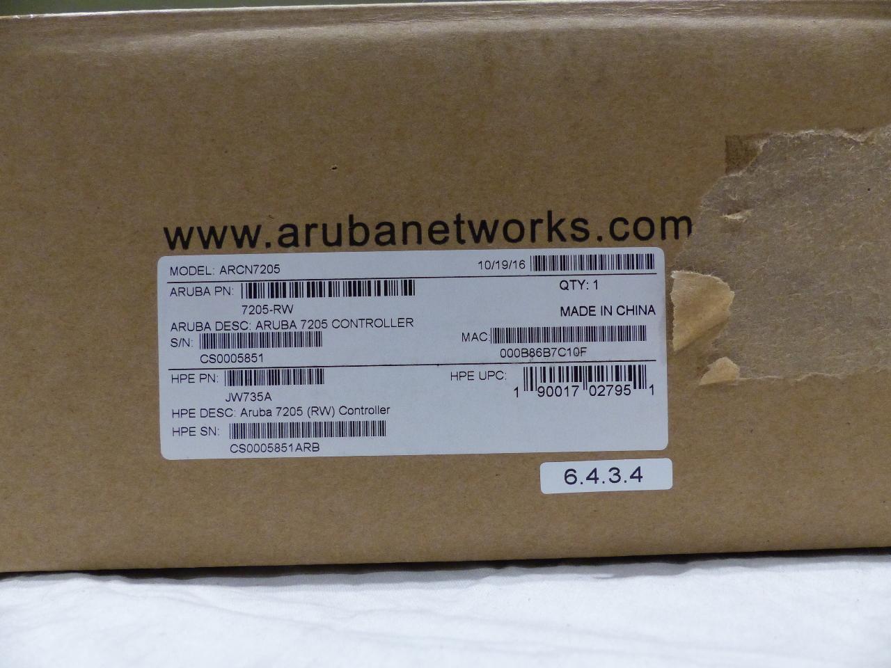 ARUBA HPE NETWORK SYSTEMS 7205 ARCN7205 MOBILITY CONTROLLER JW735A 7205-RW