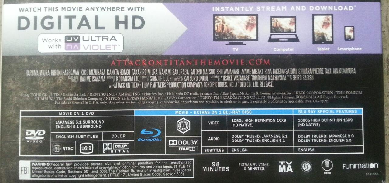 attack on titan the movie part 1 blu ray dvd digital hd ultraviolet new mdg sales llc. Black Bedroom Furniture Sets. Home Design Ideas