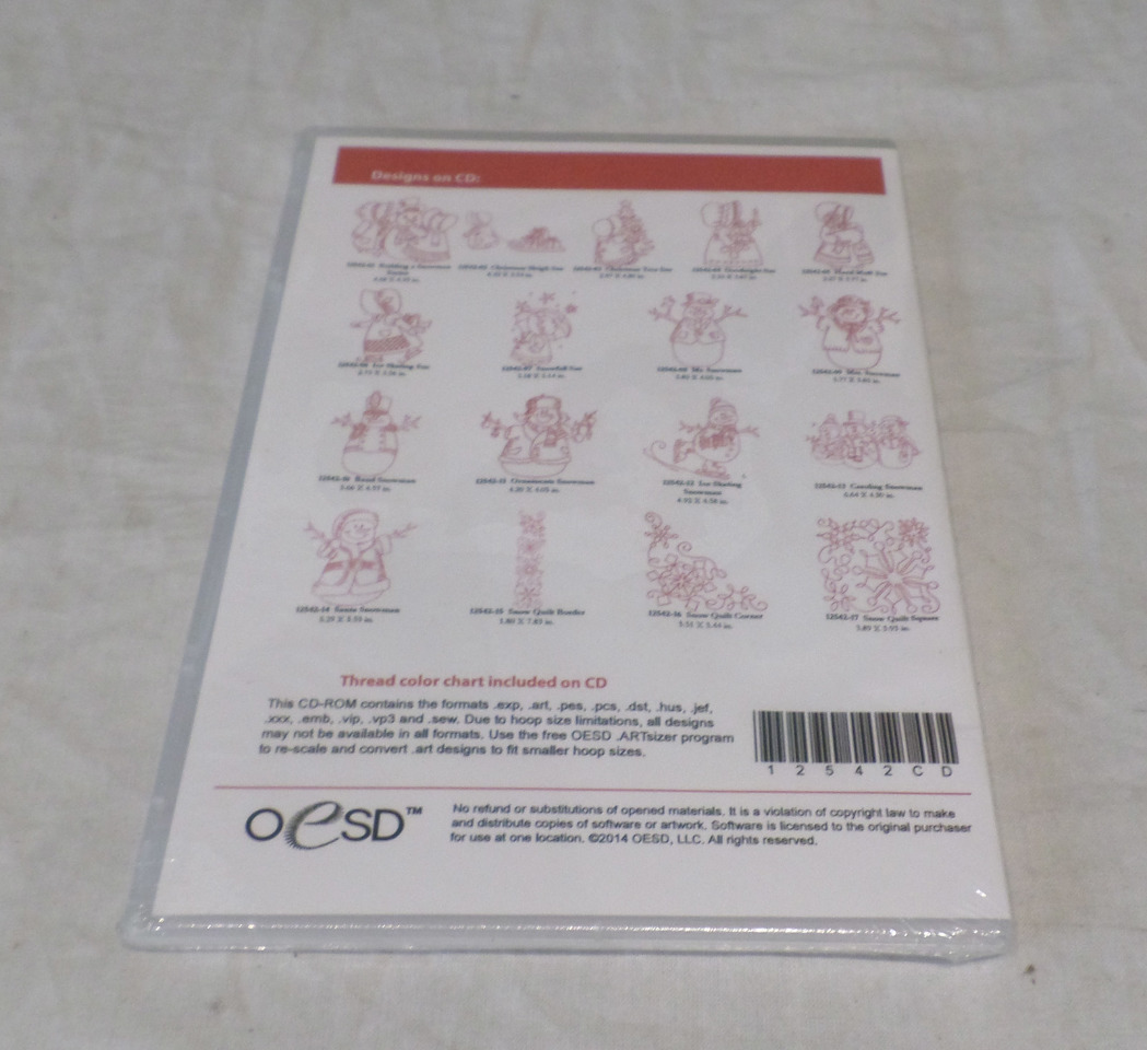 Oesd Embroidery Software Designs Winter Redwork 12542 12542cd Mdg