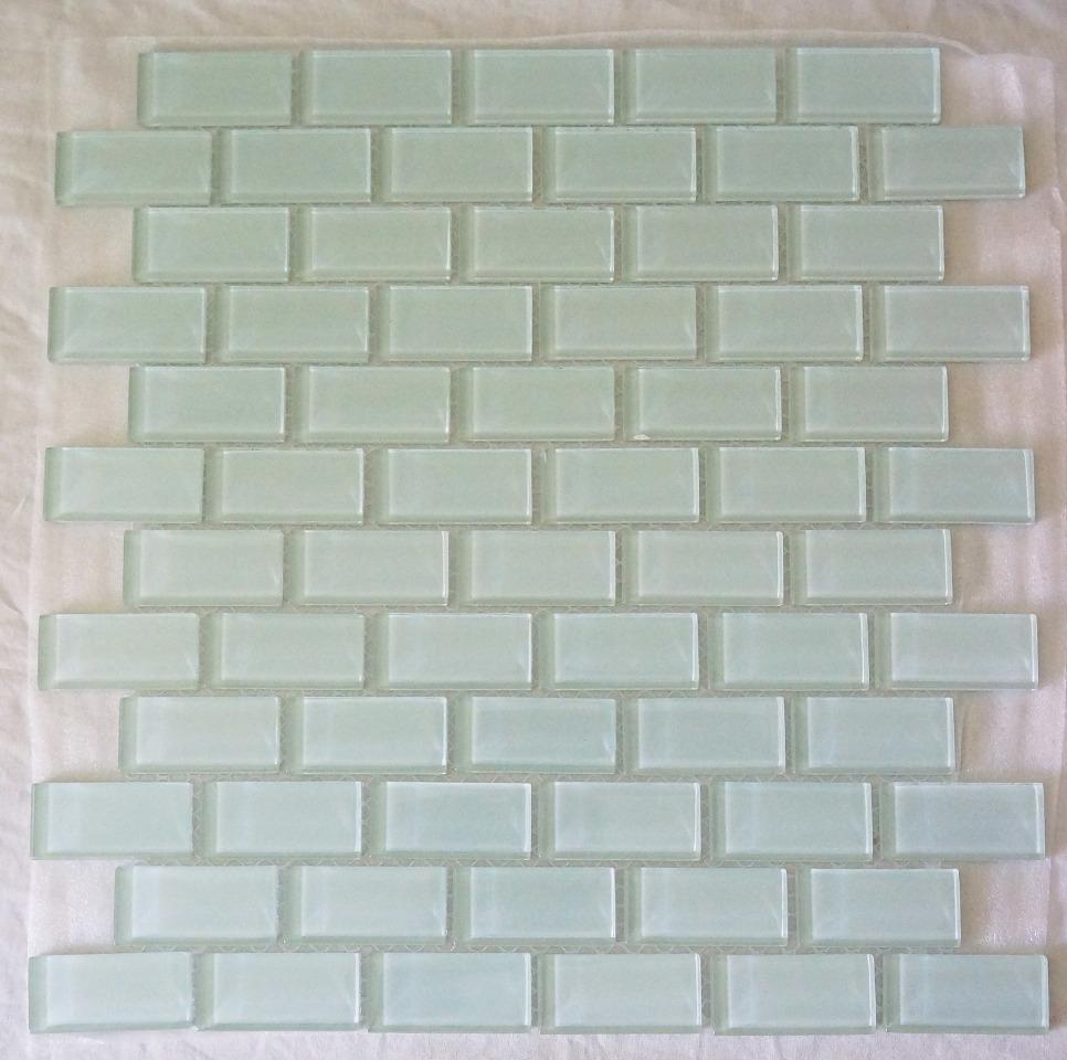 Martini mosaic delicate mint backsplash tile essen frosted - Frosted glass backsplash ...