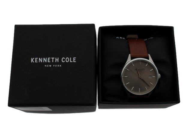 KENNETH COLE (10029305) STAINLESS STEEL AND BROWN LEATHER WATCH
