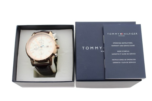 TOMMY HILFIGER 1791246 ROSE GOLD-TONE AND LEATHER WATCH 1791246