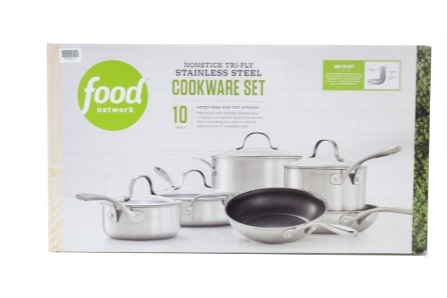 FOOD NETWORK 10-PC. TRI-PLY STAINLESS STEEL NONSTICK COOKWARE SET 55FNC201SNS