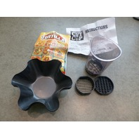 PERFECT TORTILLA DELUXE TACO BOWL SET 4 PANS & CUT n' CUP DICER NEW!
