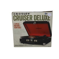 CROSLEY CRUISER DELUXE CR8005A-BK 3-SPEED PORTABLE TURNTABLE