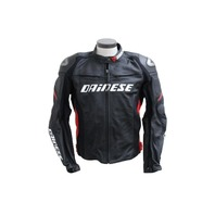 DAINESE RACING D1 PELLE BLACK RED LEATHER JACKET SIZE 56