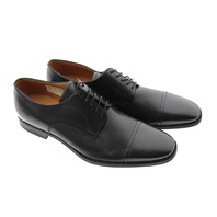 BALLY BRUXELLES TOBBY LEATHER CAP-TOE DRESS SHOE BLACK US 9D 42 CALF PERFORATED