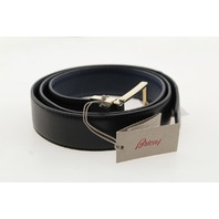BRIONI EBRI300810 BLACK/GRAY REVERSIBLE LEATHER BELT