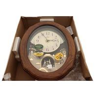 RHYTHM 4MH419 JOYFUL TIMECRACKER OAK MUSICAL MOTION WALL CLOCK