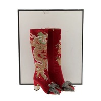 GUCCI CANDY DRAGON EMBROIDERED BLOCK-HEEL KNEE BOOTS SZ 38 / 7