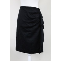 CAROLINA HERRERA 42CM481100132 DAY COLLECTION FAUX-WRAP SKIRT BLACK SIZE 8
