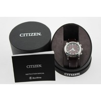 CITIZEN MENS ECO-DRIVE CHRONOGRAPH- BROWN LEATHER AND DIAL  AT0550-11X