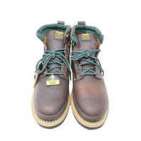 GEORGIA GB00065 MENS 8IN BROWN LOGGERS STEEL WATERPROOF THINSULATE BOOTS SZ 10