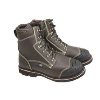 "IRON AGE THERMO SHIELD MENS 8"" DARK BROWN FULL GRAIN LEATHER WORK BOOTS SZ 12W"
