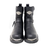 HARLEY-DAVIDSON D96090 STARTEX MENS BLACK LEATHER MOTORCYCLE BOOTS SZ 10.5
