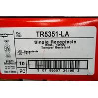 QTY 10*PASS & SEYMOUR LEGRAND SINGLE RECEPTACLE TR5351-LA LIGHT ALMOND 20A 125V