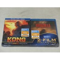 KONG SKULL ISLAND AND GODZILLA 2-FILM COLLECTION BLU-RAY + DVD+ DIGITAL NEW