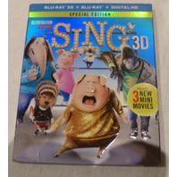 SING 3D SPECIAL EDITION BLU-RAY 3D+BLU-RAY+DIGITAL HD NEW W/ SLIPCOVER