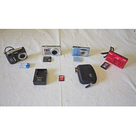 LOT OF 4 CAMERAS NIKON S6100 CANNON SD1300 KODAK CD153 PANASONIC DMCFH20 / AS IS