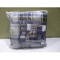 KENNEDY 6 PIECE 82817 TWIN xl EXTRA LONG BED ENSEMBLE NAVY PLAID
