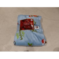 "ST. NICHOLAS SQUARE FLEECE THROW 50x60"" SUPERSOFT BLANKET DOG PUPPIES BLUE"