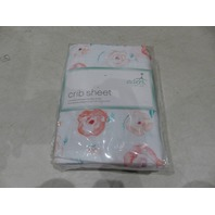 ADEN BY ADEN + ANAIS FULL BLOOM COTTON MUSLIN FITTED CRIB SHEET PINK