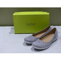 HOTTER LIVVY PEBBLE GREY NUBUCK COMFORT WOMENS BALLET FLAT SIZE 10M NEW