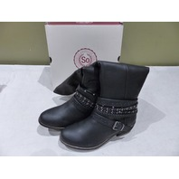 SO AUTHENTIC MESSAGE BLACK KNEE HIGH STRAPPY STUDDED RIDING BOOTS 3186061 9