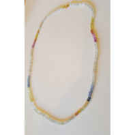 MULTI-COLOR SAPPHIRES STRAND NECKLACE W/ 44CTW SAPPHIRES +18K YELLOW GOLD NEW