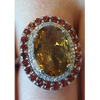 COCKTAIL RING WITH 6.55CT TW DIAMONDS GARNETS & QUARTZ 14K GOLD SZ 7 NEW