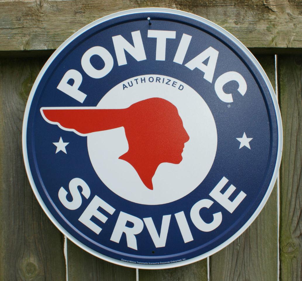 pontiac service round logo vintage repro tin metal sign. Black Bedroom Furniture Sets. Home Design Ideas