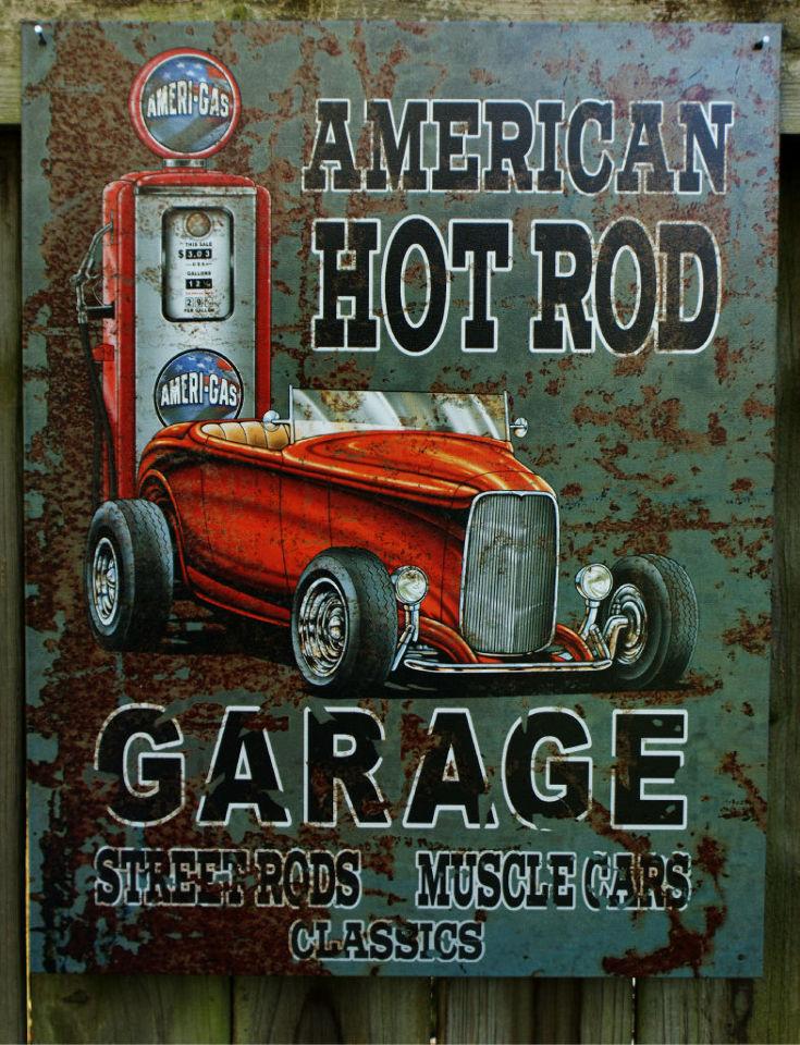 American Hot Rod Garage Muscle Car Roadster Gas Pump Tin Sign Great Man Cave 7 Ebay